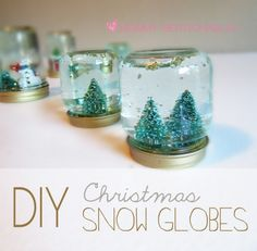 DIY Christmas Snow Globes. The perfect project to do with your little ones and make for gifts.  #snowglobes #christmasgifts #giftideas #diyprojects #christmascrafts