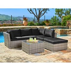 Suncrown Outdoor Furniture Sectional Sofa Set) All-Weather Grey Checkered Wicker with Black Washable Seat Cushions & Glass Coffee Table Sectional Patio Furniture, Leather Sectional Sofas, Patio Furniture Sets, Furniture Movers, Wicker Furniture, Living Furniture, Furniture Ideas, Ikea Outdoor, Outdoor Sofa