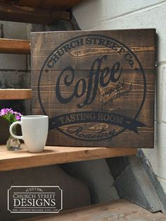 Coffee decor coffee wall art customize this by churchstdesigns vintage coffee signs, coffee shop signs Vintage Coffee Signs, Coffee Shop Signs, Coffee Shop Names, Design Café, Rico Design, Design Table, Kitchen Signs, Kitchen Art, Bar Retro