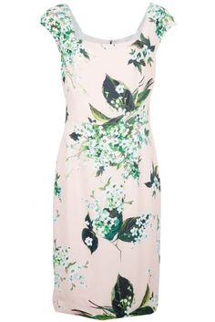 Pink Contrast Green and Whtie Floral Print Square Neckline Dress