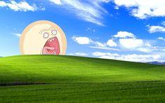 Rick and Morty Screaming Sun + WIndows XP Wallpaper