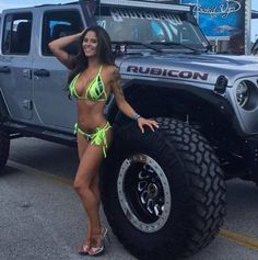 bikini model with jeep wrangler Wrangler Jeep, Jeep Rubicon, Silver Jeep, Sexy Autos, Jeep Baby, Pin Up, Jeep Truck, Jeep Jeep, Dodge Trucks
