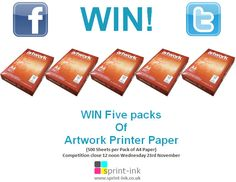 We've got a #competition running on #Twitter and #Facebook. #WIN Five packs of Artwork Printer Paper Enter on Facebook @Sprint.Printer.Ink Enter on Twitter @sprintink Competition close 12 noon Wednesday 23rd November