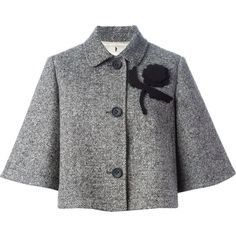 Red Valentino flower appliqué jacket (£515) ❤ liked on Polyvore featuring outerwear, jackets, coats, suits, black, wool blend jacket, flower jacket, red valentino, black jacket and red valentino jacket