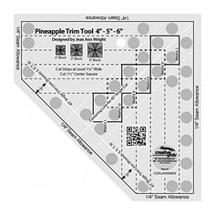 Create perfect 4 inch, 5 inch, or 6 inch finished Pineapple blocks by squaring up each round of strips as they are sewn. Creative Grids Non-Slip Pineapple Trim Tool Mini Quilt Ruler