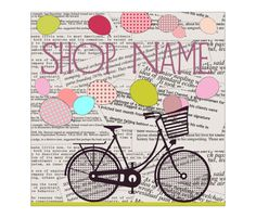 Premade Etsy Banner Set Retro Bicycle Romantic by BannerDesignShop
