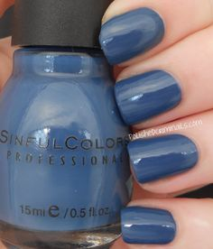 Sinful Colors Nail Polish: RAINSTORM~a dusty Blue creme with Grey undertones.