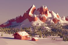 Winter low poly landscape by Dmitry Ryabov. Environment Concept, Environment Design, Blender 3d, Illustration Art Nouveau, Landscape Illustration, Low Poly Games, Isometric Art, Polygon Art, Low Poly 3d Models