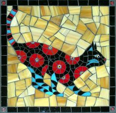 Gallery of stained glass mosaic cats by Santa Barbara, CA artist Christine Brallier. Mosaic Wall, Mosaic Glass, Mosaic Tiles, Glass Art, Paper Mosaic, Tiling, Stained Glass Paint, Stained Glass Designs, Cat Crafts