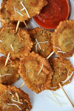 Fried ravioli on a stick