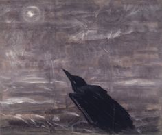 Morris Graves Moon Mad Crow in the Surf 1943 Gouache on paper 23 x 28 in. Modern Artists, New Artists, Northwest School, Blackbird Singing, Quoth The Raven, Dark Wings, Raven Art, Jackdaw, Crows Ravens
