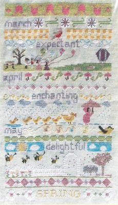 Misty Hill Studio Spring Band Sampler - Cross Stitch Pattern. Stitch Count: 49W x 80H. Model stitchedon 30ct Honesuckle Weeks Dye Works linen using DMC floss. (