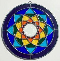 """Rainbow Stained Glass Chakra Mandala - 10"""""""""""