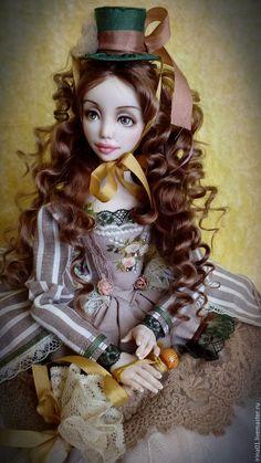 Купить Аделина - коричневый, Будуарная кукла, авторская ручная работа, авторская…