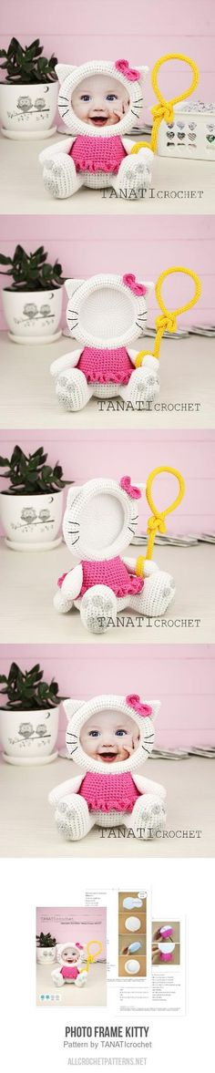 Photo Frame KITTY crochet pattern Double Crochet, Single Crochet, Sport Weight Yarn, Crochet Home Decor, Magic Ring, Black Thread, Slip Stitch, Crochet Patterns, Crochet Hats