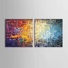 pinturas al óleo juego de 2 modernas ladrillos de color abstracto lienzo pintados a mano listos para colgar - USD $ 91.99