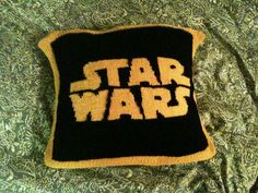 Star Wars pillow I knitted for my nephew.