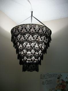 Venise Lace Faux Chandelier Pendant Lamp Shade 'Black'. $30.00, via Etsy.