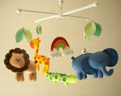"Bebé cuna móvil, safari móvil, móviles, animales fieltro móvil ""vamos al zoológico 3"" - elefante, León, jirafa, cebra, cocodrilo"