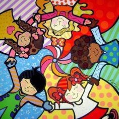 Fika a Dika - For a Better World: Romero Brito Tips Art Drawings For Kids, Art For Kids, Famous Pop Art, School Murals, Graffiti Painting, Arte Pop, Naive Art, Painting For Kids, Art Plastique