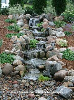 Photo of pondless waterfall installation