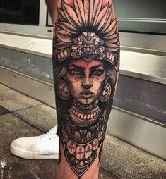 Bild Tattoos, Dope Tattoos, Skull Tattoos, Leg Tattoos, Body Art Tattoos, Tattoos For Guys, Tatoos, Aztec Tattoos Sleeve, Leg Sleeve Tattoo