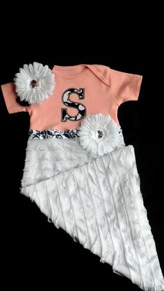Monogram  Layette Ruffle Damask  Infant Gown and Headband Take Me Home  Gift Set. $43.00, via Etsy.