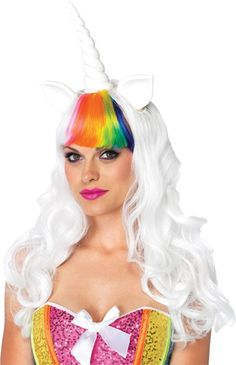 Long white wig with an rainbow bangs and adjustable elastic strap comes with a multicolor rainbow tail. One size fits most.