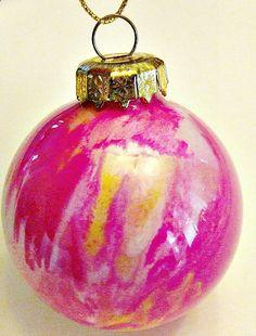 DIY Swirl Paint Glass Ornaments | A Cork, Fork, & Passport™