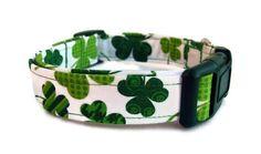 Dog Collar - St. Patrick's Day Shamrocks - Free U. S. Shipping. $19.00, via Etsy.
