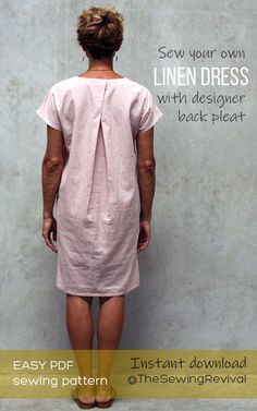 With back cross over pleat and small centre front pleat, this pull on dress is easy to sew with a designer look. Diy Clothing, Clothing Patterns, Dress Patterns, Sewing Clothes Women, Easy Sewing Patterns, Sewing Tutorials, Pattern Sewing, Sewing Projects, Linen Dress Pattern