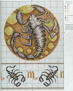 Borduurpatroon Sterrenbeeld Kruissteek *X-Stitch Pattern Zodiac ~Serie 4-11: Schorpioen 24-10/22-11 *Scorpio~
