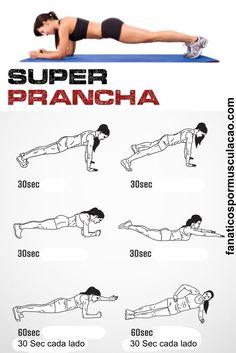 Super prancha saiba como fazer o exercício prancha corretamente. E emagrecer com saúde. Gym Workout Tips, Abs Workout For Women, At Home Workouts, Ab Workouts, Workout Plans, Yoga Fitness, Fitness Tips, Health Fitness, Fitness Motivation