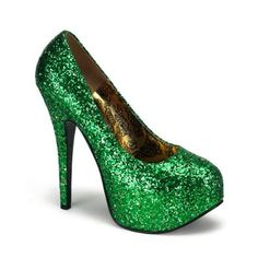 5 3/4 Inch Heel Sexy High Heel Shoes Green Glitter Pump Shoes Concealed Platform St Patricks Day