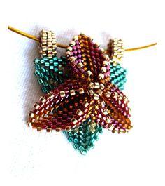 Beadwork Flower Necklace - Beaded Poinsettia Pendant by DianaCoe, £19.00