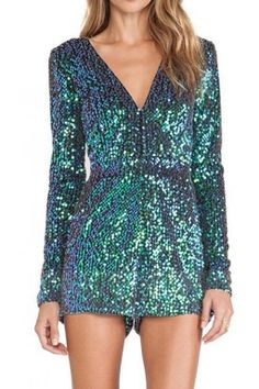 Turquoise V Neck Sexy Womens Long Sleeves Sequins Romper Wedding attendee