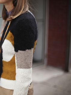 carven - PATCHWORK JACQUARD KNIT PULLOVER