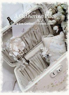 A Gathering Place: ~OOH LA LA!!! FRENCH WHITE REFURBISHED TRAIN CASE~