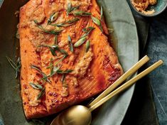"Sesame Salmon with Kimchi-Miso Butter - Cooking Light Magazine: Top-Rated Recipes. ""This Sesame Salmon With Kimchi-Miso Butter Has Just 366 Calories Baked Salmon Recipes, Fish Recipes, Seafood Recipes, Healthy Recipes, Bbc Recipes, Healthy Food, Seafood Meals, Alkaline Recipes, Healthy Meals"