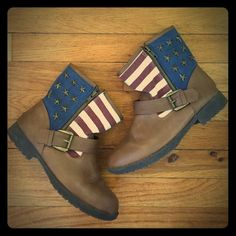 American Flag Brown Ankle Boots Adorable American flag brown ankle boots. Great condition. Rampage Shoes Ankle Boots & Booties