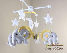 Baby Crib Mobile  Baby Mobile  Elephant Mobile by dropsofcolorshop, $85.00