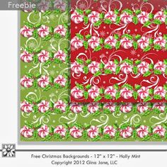 "Free Christmas Holiday Scrapbooking Backgrouds 12""x12"""