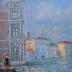 Waiting at Ca' Rezzonico, Paul Dettwiler, olio/tempera sul tela 60 x 60 cm Grand Canal Venice, Tempera, Waiting, Canvas, Venice Italy, Art, Instagram, Collection, Venetian