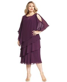 SL Fashions Plus Size Dress and Cape, Sleeveless V-Neck Tiered Beaded - Plus Size Dresses - Plus Sizes - Macy's
