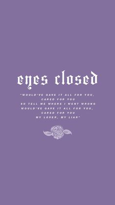 eyes closed lyric