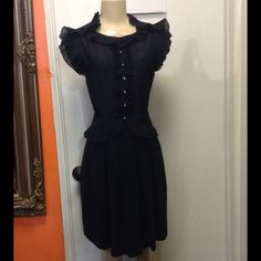 Marc Jacobs Navy Blue Dress This is a stunning piece. Shell is Cotton and Silk, side zip. Gorgeous dress, excellent  condition!! 😍 Marc Jacobs Dresses