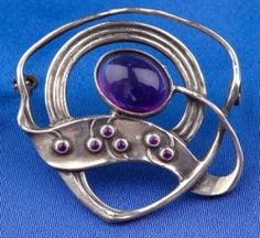 Arts & Crafts Sterling Silver and Amethyst Brooch, Theodore Fahrner, Murrle, Bennett & Co., c. 1903