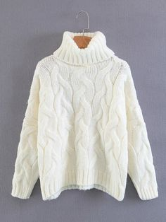 To find out about the Turtleneck Cable Knit Sweater at SHEIN, part of our latest Sweaters ready to shop online today! Chic Outfits, Fall Outfits, Pull Torsadé, Trendy Hoodies, Knitwear Fashion, Cable Knit Sweaters, Women's Sweaters, Sweaters For Women, Turtle Neck