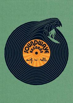 SoundWave Records - Illustration by Björn Siems, via designinspiration Surf Design, Logo Design, Typography Design, Design Art, Graphic Design, Wave Design, Studio Design, Typography Poster, Interior Design