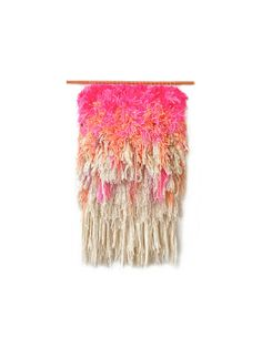 Handwoven Tapestry  Furry Electric Cherry Fields / Hot by jujujust on Etsy